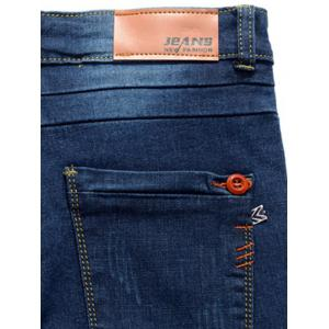 Slim Fit Button Embellished Zip Fly Jeans - Bleu Foncé 36