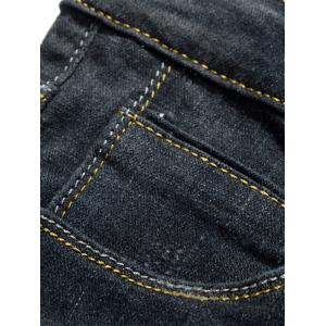Slim Fit Scratched Zip Fly Faded Jeans - BLUE 32