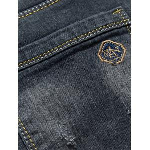 Slim Fit Scratched Zip Fly Faded Jeans - BLACK 36
