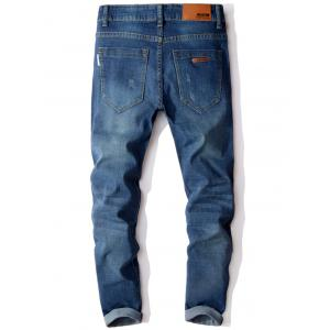 Zip Fly Cuffed Slim Fit Jeans - Bleu 32