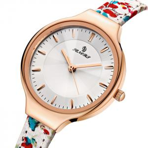 Floral Pattern Faux Leather Strap Quartz Watch -