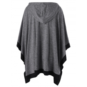 Hooded Zip Up Plus Size Cape Coat - Gris XL