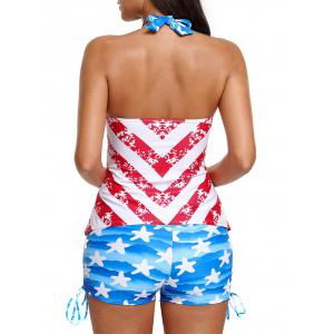 Halter Padded Patriotic Tankini Set - COLORMIX M