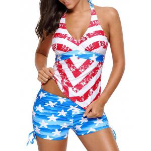 Halter Padded Patriotic Tankini Set - COLORMIX XL