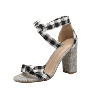 Plaid Pattern Bowknot Sandals - BLACK 37