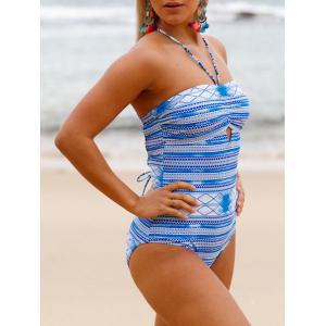 Lace Up Cross Back Swimsuit - WINDSOR BLUE S