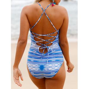 Lace Up Cross Back Swimsuit - WINDSOR BLUE M