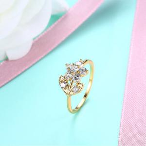 Rhinestone Leaf Flower Finger Ring - GOLDEN 9