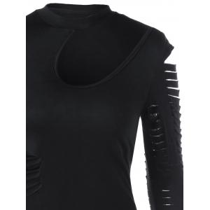 Ripped Sleeved Bodycon Fitted Dress - BLACK 2XL