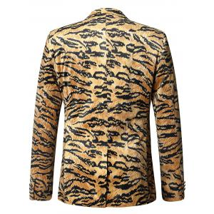 Leopard Print One-button Velvet Blazer - COLORMIX 50