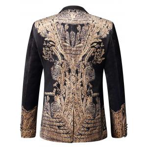 Retro Print One-button Velvet Blazer - Multicolore 50