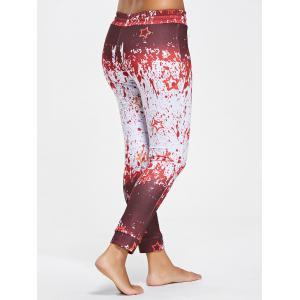 Drawstring Splatter Paint Active Pants - RED WITH WHITE M
