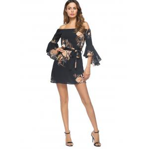 Flower Print Off The Shoulder Bell Sleeve Mini Dress - Noir M