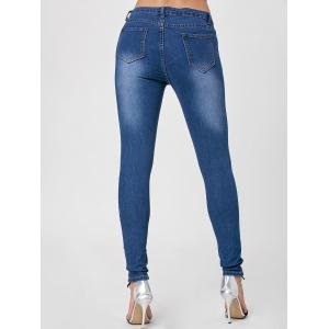 Dark Washed High Waist Skinny Jeans - CERULEAN XL