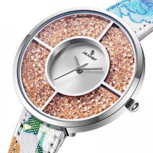 Floral Print Faux Leather Strap Rhinestone Watch -