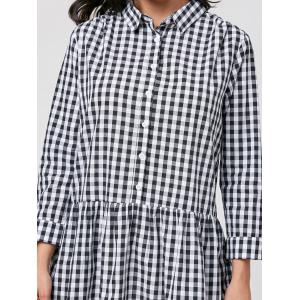 Gingham Long Sleeve Drop Waist Shirt Dress - BLACK WHITE L