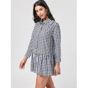 Gingham Long Sleeve Drop Waist Dress - Blanc-Noir XL