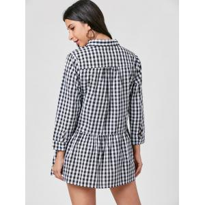 Gingham Long Sleeve Drop Waist Shirt Robe -