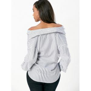Lantern Sleeve Striped Blouse -