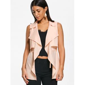 Notched Collar Drawstring Overlap Waistcoat - LIGHT APRICOT PINK XL
