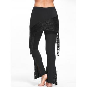 Lace Panel Skirted Flare Pants - BLACK M