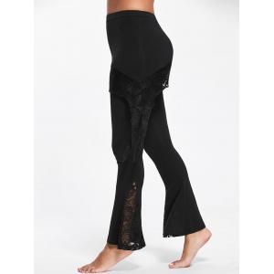 Lace Panel Skirted Flare Pants - BLACK 2XL