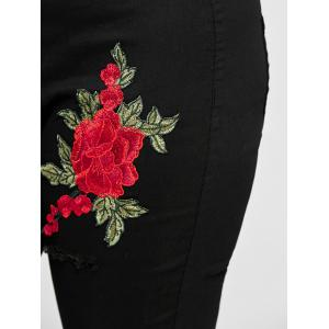 Plus Size Ripped Floral Embroidered Jeans -