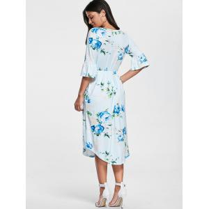 Pocket Floral Print Bell Sleeve Dress -
