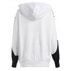 Plus Size Letter Print Batwing Sleeve Hooded Jacket -