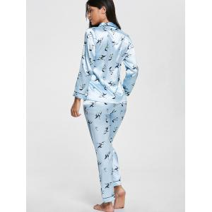Floral Print Satin Pajamas Shirt and Pants -
