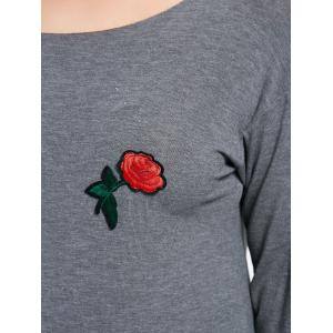 Plus Size Skew Neck Asymmetric Rose Embroidered T-shirt -