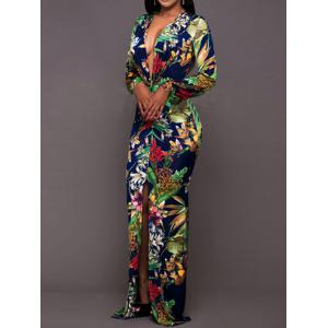 Floral Plunging Neck Maxi Evening Dress -