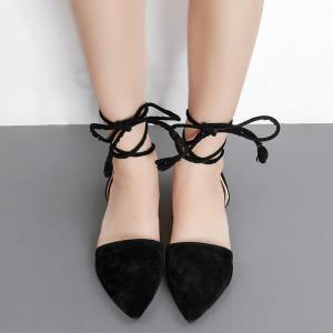 Suede Pointed Toe Tie Leg Flat Shoes -