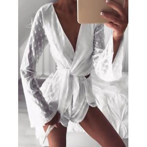 Long Sleeve Wrap Mesh Romper -