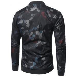 Zip Up Feather Print Bomber Jacket -
