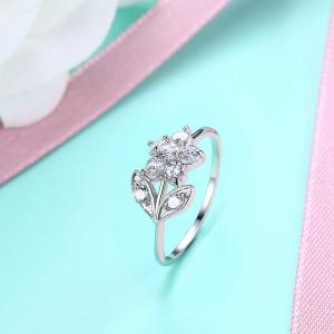 Rhinestone Leaf Flower Finger Ring -