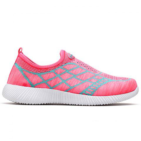 Discount Breathable Geometric Pattern Athletic Shoes PINK 37