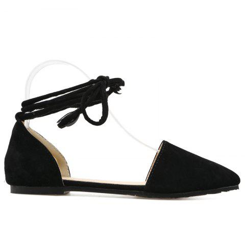 Fashion Suede Pointed Toe Tie Leg Flat Shoes - 37 BLACK Mobile