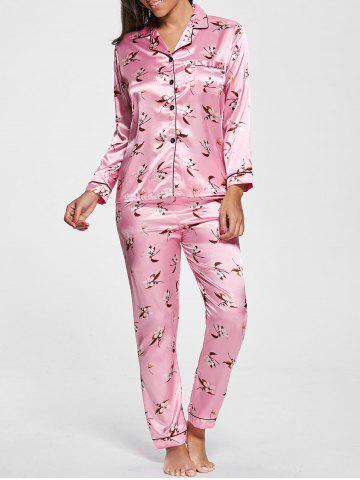 Fancy Floral Satin Long Sleeve Pajamas Set PINK L