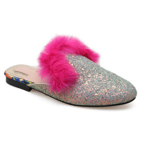 Chic Sequined Mules with Faux Fur Trim SILVER 39