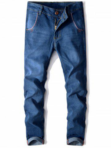 Slim Fit Button Embellished Zip Fly Jeans Bleu clair 34