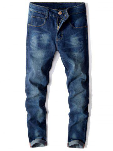 Affordable Slim Fit Scratched Zip Fly Faded Jeans BLUE 32
