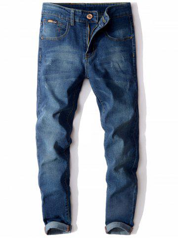 Zip Fly Cuffed Slim Fit Jeans Bleu 32