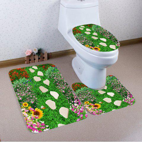 Unique 3Pcs Stones Flowers Grassland Antiskid Bath Toilet Mat Set - GREEN  Mobile