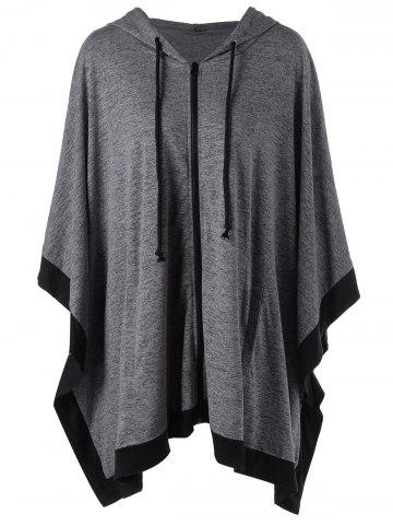 Hooded Zip Up Plus Size Cape Coat Gris XL