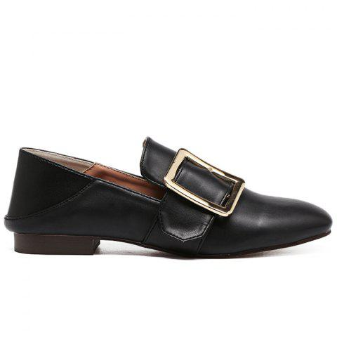 Cheap High-polished Buckle Strap Flats - 39 BLACK Mobile
