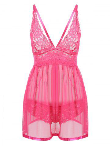 Unique Plunge Lace See Thru Slip Babydoll - 2XL WATER RED Mobile