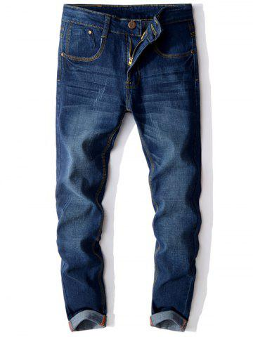 Fashion Zip Fly Cuffed Skinny Jeans - 36 DEEP BLUE Mobile