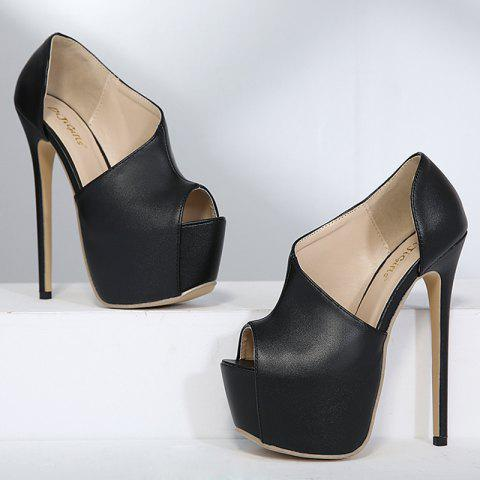 Best High Heel Platform Peep Toe Shoes - 38 BLACK Mobile