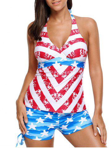 Unique Halter Padded Patriotic Tankini Set - L COLORMIX Mobile